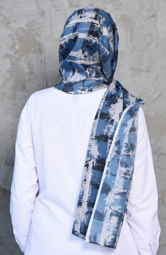 Patterned Cotton Shawl 95259-02 light Bblue 95259-02