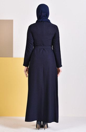 Stone Belted Dress 0226-03 Navy Blue 0226-03