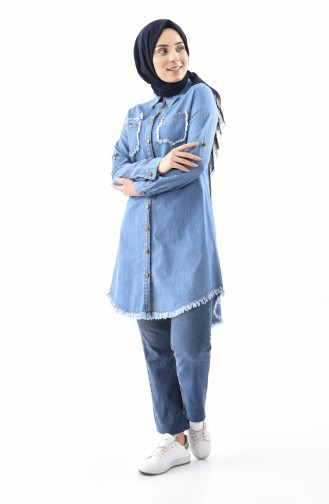 Pocketed Jeans Tunic 8194-02 Blue Jeans 8194-02