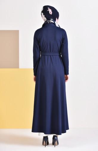Belted Abaya 7953-05 Navy Blue 7953-05