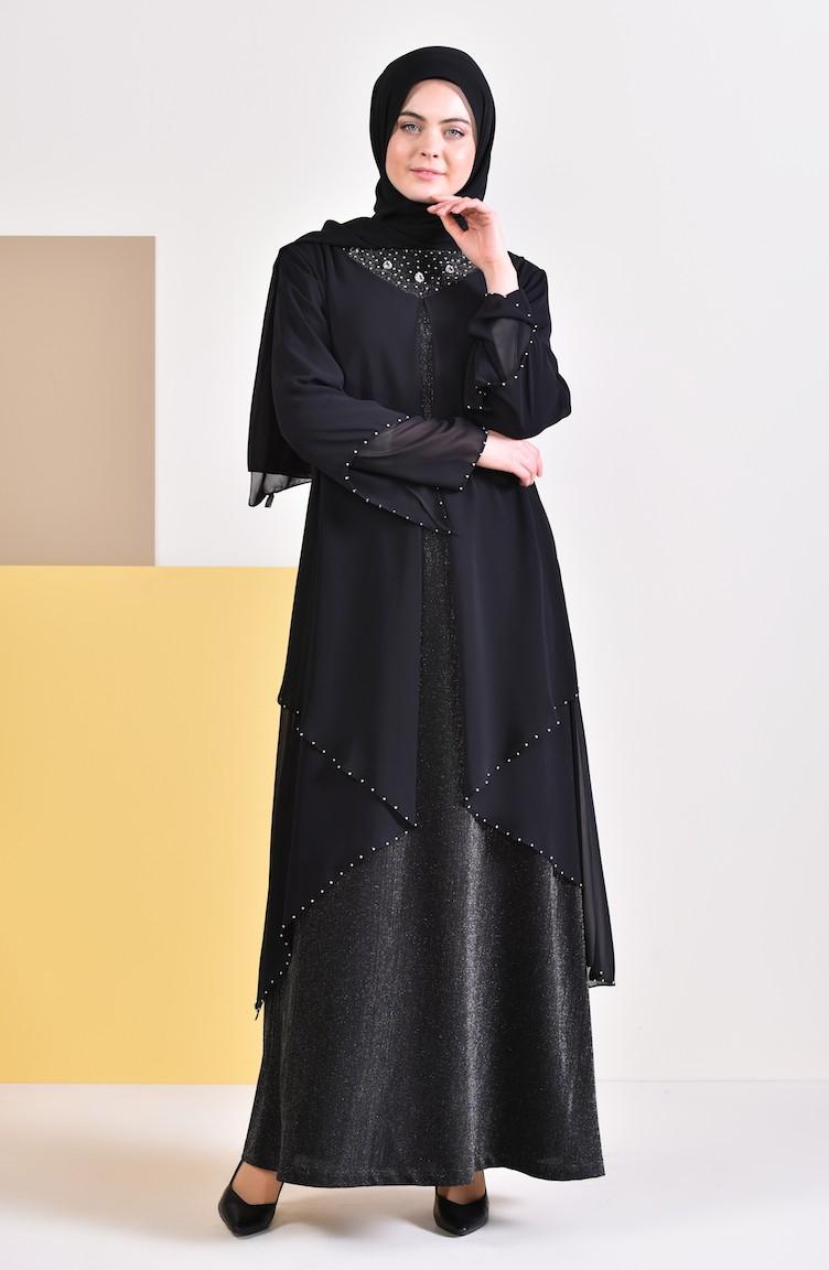01 3136 Perlées De Grande Robe Soirée Noir Taille my8OvNn0w