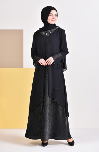 Plus Size Stones Evening Dress 3136-01 Black 3136-01