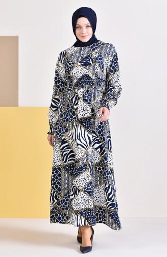 فستان بتصميم طيات مزين بسلسلة 3004-02 لون كحلي 3004-02
