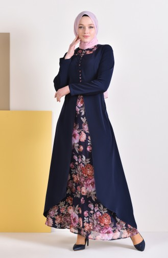 Button Detailed Jacquard Dress 1701-01 Navy Blue 1701-01