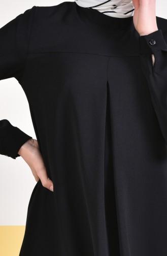 تونيك غير متماثل الطول بتصميم طية مفتوحة من الأمام 0146-03 لون أسود 0146-03