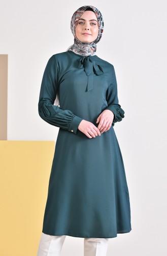 Kravat Yaka Tunik 5018-02 Zümrüt Yeşili 5018-02