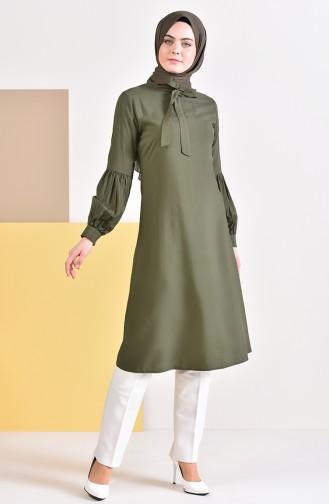 Kravat Yaka Tunik 5018-06 Yeşil
