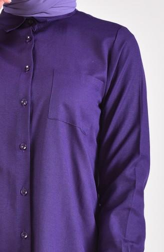 تونيك بتفاصيل جيوب وفتحات على الجانب 6350-15 لون بنفسجي 6350-15