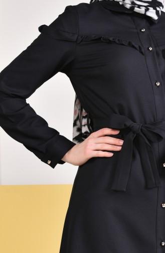 Ruffled Belted Tunic 3017-03 Black 3017-03