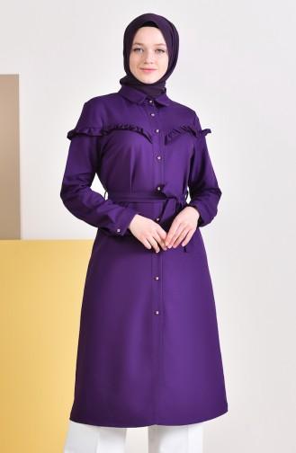 Ruffled Belted Tunic  3017-04 Purple 3017-04