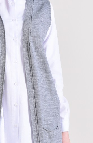 Slim Fit Knitwear Pocket Vest 4128-15 Gray 4128-15