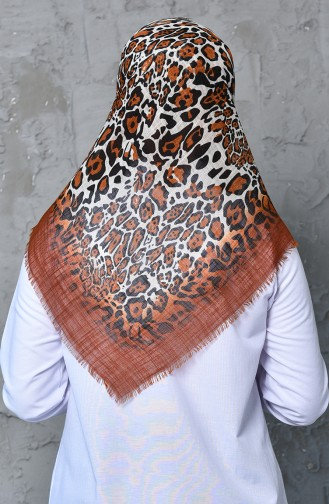 Patterned Flamed Cotton Scarf 901462-15 Tobacco 901462-15