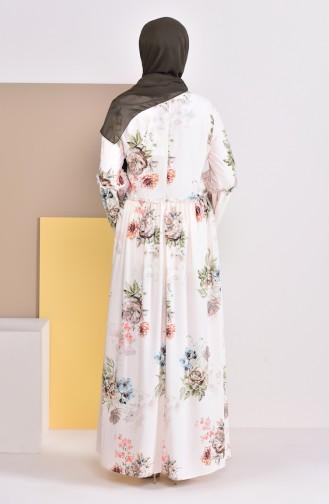 Büzgülü Kolyeli Elbise 3046-02 Krem
