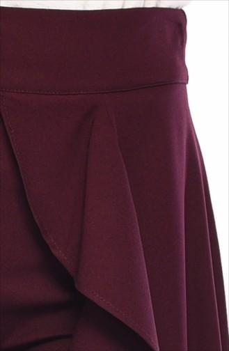 Volanlı Pantolon Etek 31229-04 Koyu Vişne