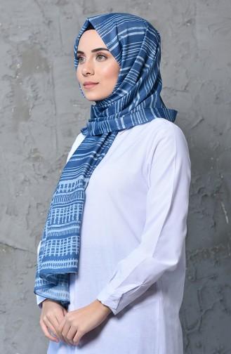 شال قطن بتصميم مُطبع 95260-03 لون ازرق فاتح 95260-03