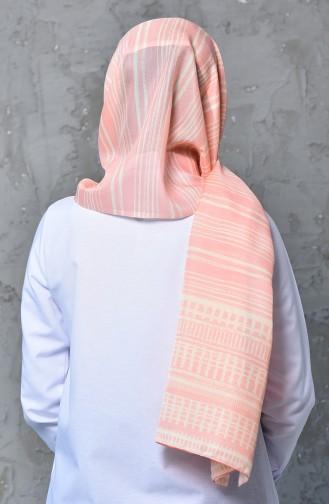 شال قطن بتصميم مُطبع 95260-05لون مشمشي 95260-05