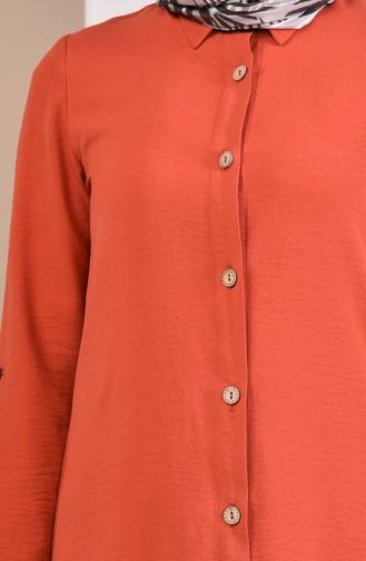 Aerobin Kumaş Düğmeli Tunik Pantolon İkili Takım 8406-04 Kiremit 8406-04