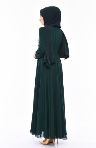 Dantelli Abiye Elbise 8750-07 Zümrüt Yeşili 8750-07