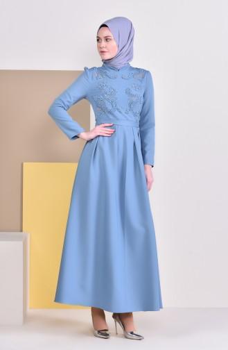 Kleid mit Perlen und Band 9026-01 Blau 9026-01