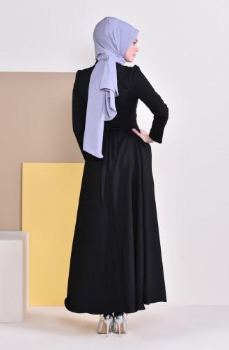 İncili Kuşaklı Elbise 9026-03 Siyah