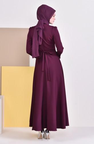Kleid mit Perlen und Band 9026-04 Zwetschge 9026-04