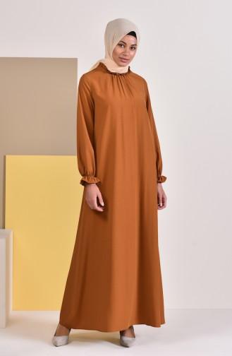 Gefälteltes Viskose Kleid 1012-02 Senf 1012-02