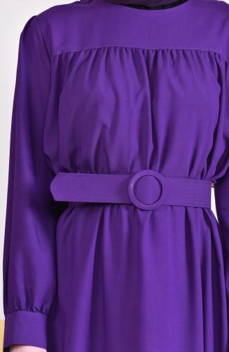 Kemerli Elbise 5020-02 Mor
