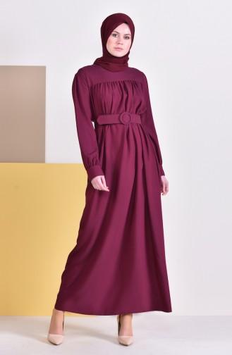فستان بتفاصيل حزام للخصر 5020-04 لون كرزي 5020-04