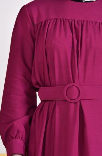 Kemerli Elbise 5020-06 Mürdüm