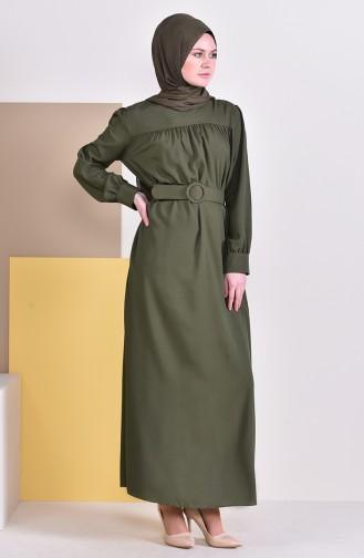 فستان بتفاصيل حزام للخصر 5020-07 لون اخضر 5020-07