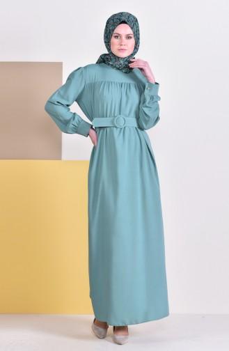 Kemerli Elbise 5020-08 Çağla Yeşili