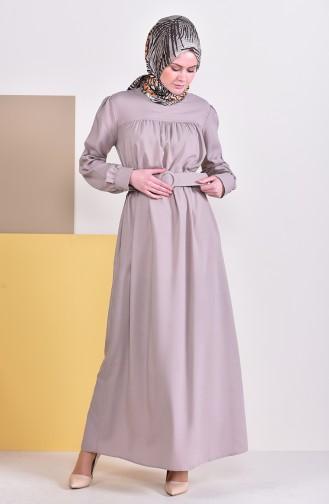 Kemerli Elbise 5020-09 Vizon