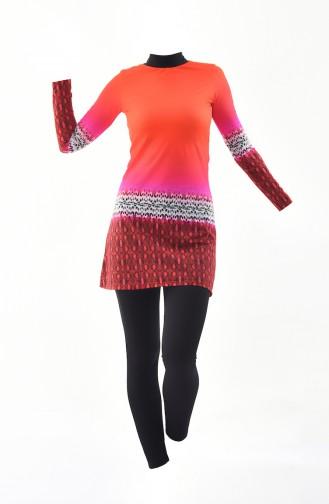 بدلة سباحة للمُحجابات بتصميم مُطبع 0333-02 لون مرجاني وفوشي 0333-02