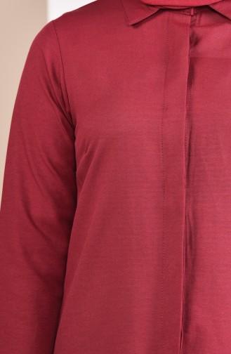 Hidden Buttoned Tunic 069412-10 Claret Red 069412-10