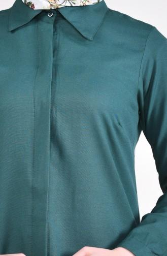 Gizli Düğmeli Tunik 069412-13 Zümrüt Yeşili