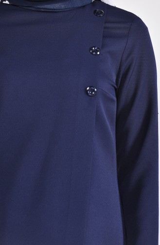 Buttons Detailed Tunic 8213-02 Navy Blue 8213-02