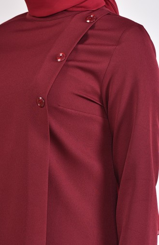 Buttons Detailed Tunic 8213-04 Claret Red 8213-04