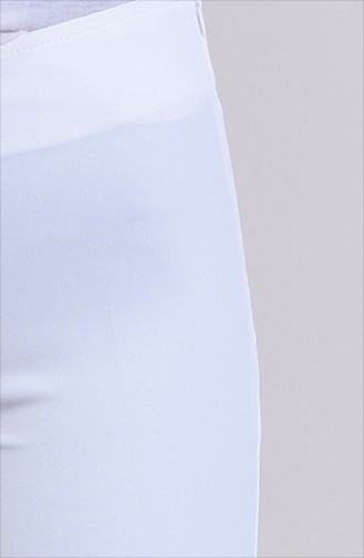 Side Zippered Lycra Pants 9010-06 White 9010-06