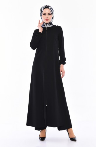 Elastic Sleeve Zippered Abaya 3051-01 Black 3051-01