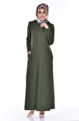 Abaya a Fermeture 0156-04 Khaki 0156-04