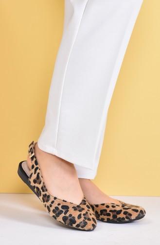 Women Flat Shoes Ballerina 7633-3 Leopard 7633-3