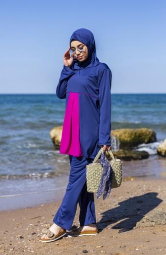 بدلة سباحة للمُحجابات وبمقاسات كبيرة 0327-04 لون كحلي وفوشي 0327-04