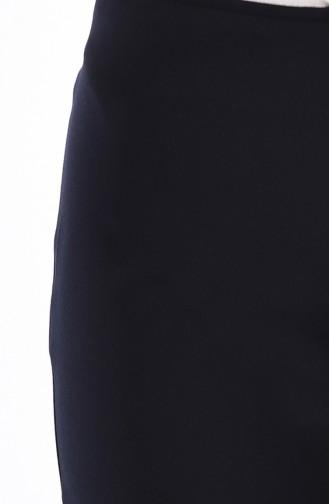 Side Zippered Lycra Pants 9010-04 Navy Blue 9010-04