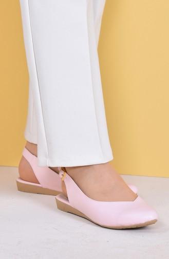 Women Flat Shoes Ballerina 7623-3 Powder Leather 7623-3