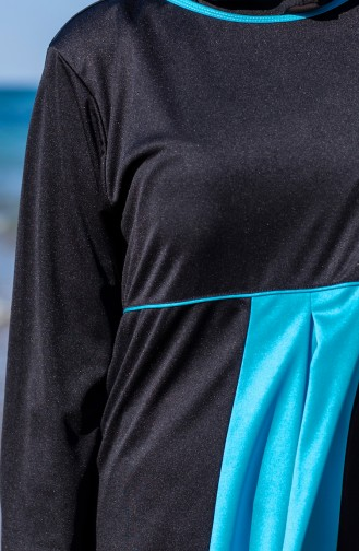 بدلة سباحة للمُحجابات وبمقاسات كبيرة Mayo 0327-01 لون اسود وازرق 0327-01
