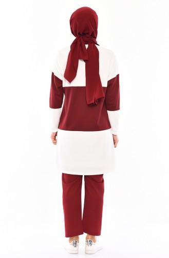 Tunik Pantolon İkili Takım 9012-01 Ekru Bordo 9012-01