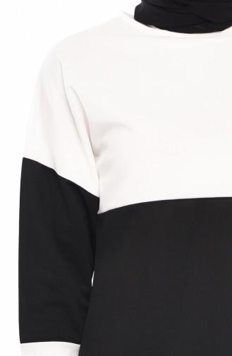 Tunik Pantolon İkili Takım 9012-02 Ekru Siyah 9012-02