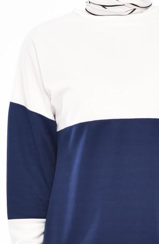 Tunik Pantolon İkili Takım 9012-03 Ekru İndigo 9012-03