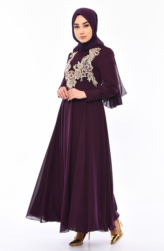 MISS VALLE  Lace Evening Dress 8750-04 Purple 8750-04
