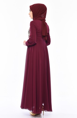 MISS VALLE  Lace Evening Dress 8750-05 Plum 8750-05